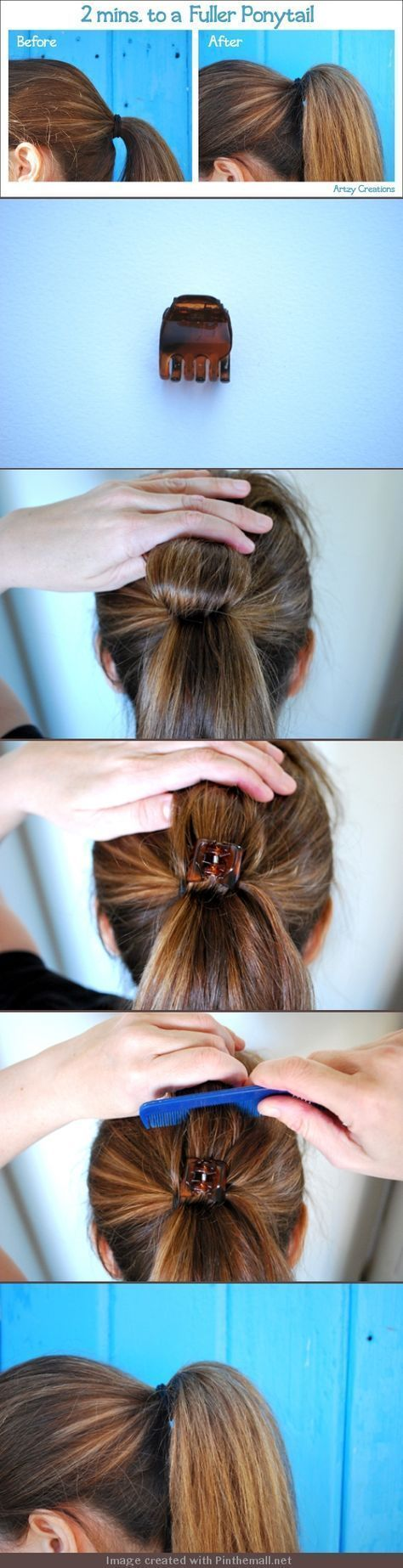2mins For A Fuller Ponytail. 1) Divide ponytail in half flip hair back. Hold th #fullerponytail