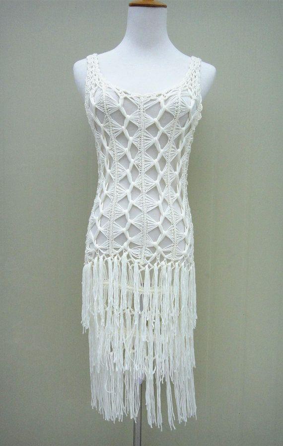 Hippie Fringe Dress Women Long Crochet Vest | gloria 1 | Pinterest ...