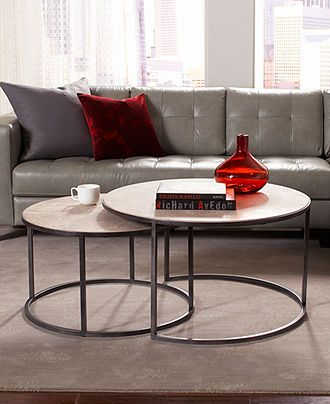 Monterey coffee table round nesting for Round stacking coffee table
