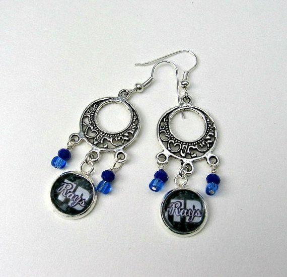 MLB Tampa Bay Rays Dangle Baseball Earrings by Sports JewelryStudio on Etsy.  $16.50.  etsy.com/shop/sportsjewelrystudio.  #tampabayrays; #mlbfanwear; #mlb; #baseball