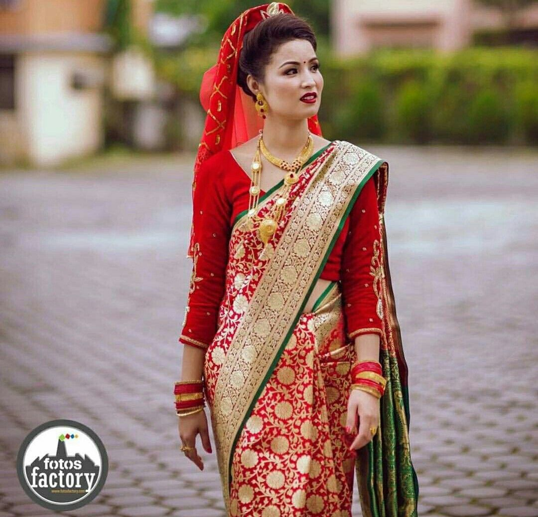 Nepali Wedding Tradition Nepal Marriage Bride Makeup Simple Saree Dress Red Bridal Dress Saree Designs Party Wear Sarees