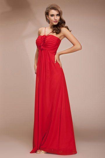 Robe empire de soiree rouge
