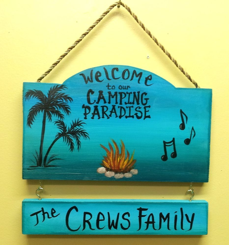 Welcome To Our Camping Paradise Camp Sign Campsite With