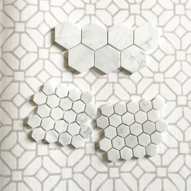 Eggshell Home Hexagon Marble Tile And Wallpaper Samples