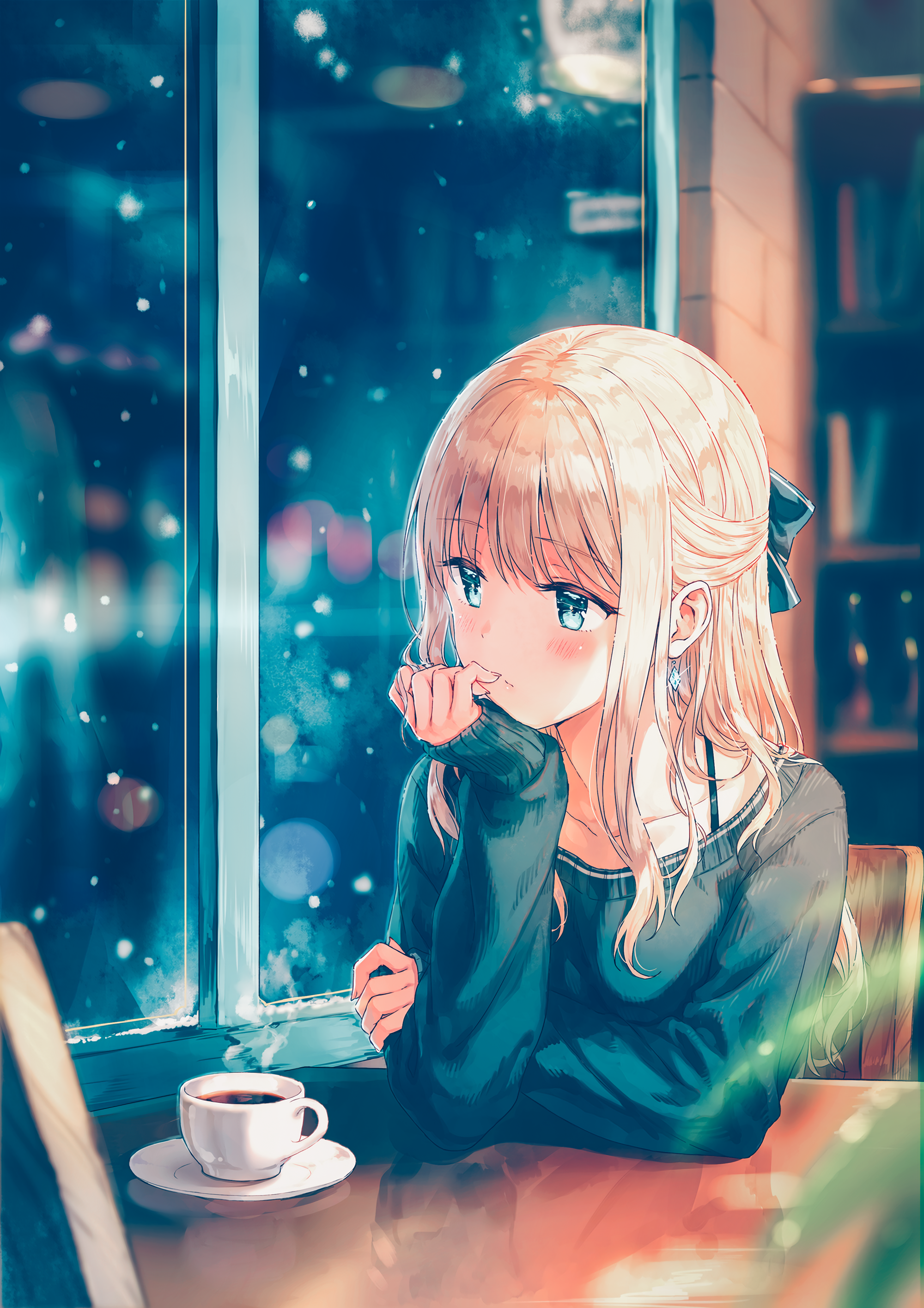 Anime 2000x2830 anime anime girls long hair blonde sweater snow aqua
