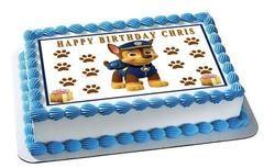 Paw Patrol Chase Edible Birthday Cake Topper OR Cupcake Topper, Decor - Edible Prints On Cake (Edible Cake &Cupcake Topper)