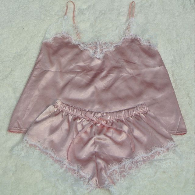 Satin Cami and Shorts Set Lace Nightgowns Comfy Pajamas Pretty Nighties  Artificial Silk Sleepwear Sets f8a6c54ae