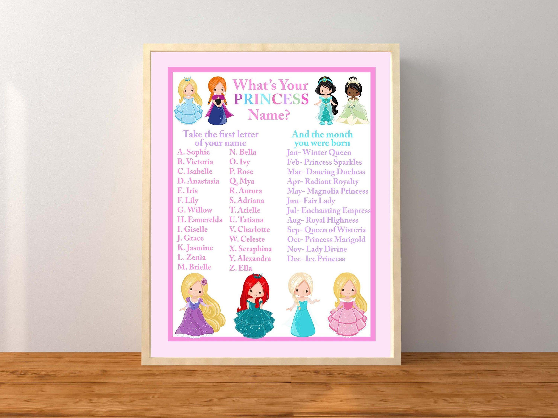 Princess Party, Princess Name Game, What's Your Princess