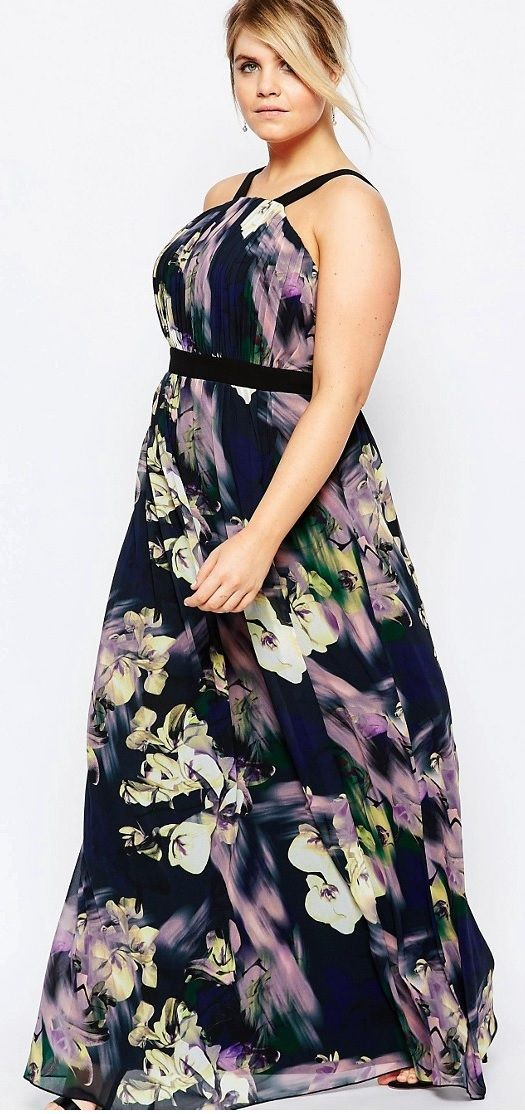 cd6f90658e8 Plus Size Floral Printed Maxi Dress