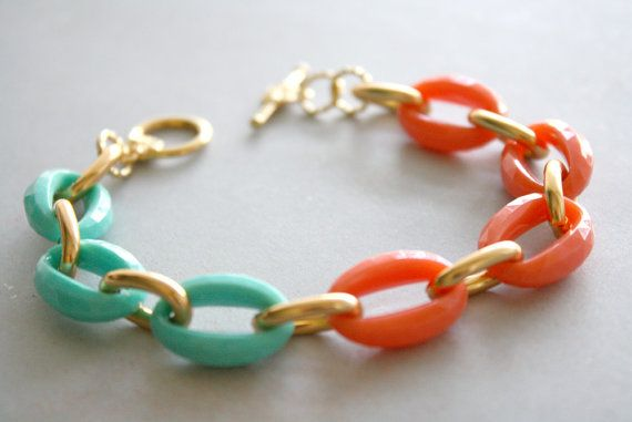 Arm Candy  coral mint and gold link bracelet by DailyDose on Etsy, $14.00