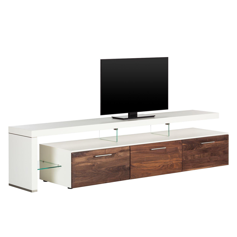 TV-Lowboard Solano II - Ohne Beleuchtung - Nussbaum / Weiß - Mit TV ...