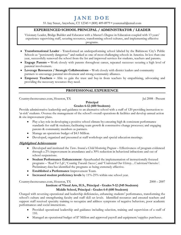 Examples Of Teacher Resumes Resume Samples On Pinterest Assistant Principal Resume And