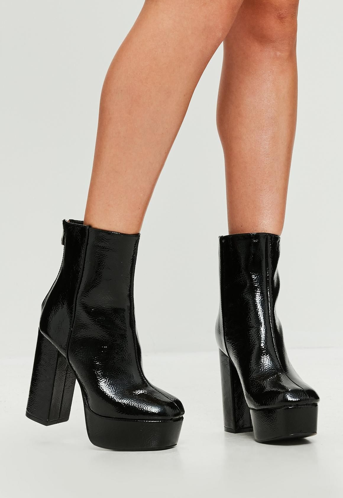 d10b0d5ab736 Missguided - Black Vinyl Platform Heeled Ankle Boots