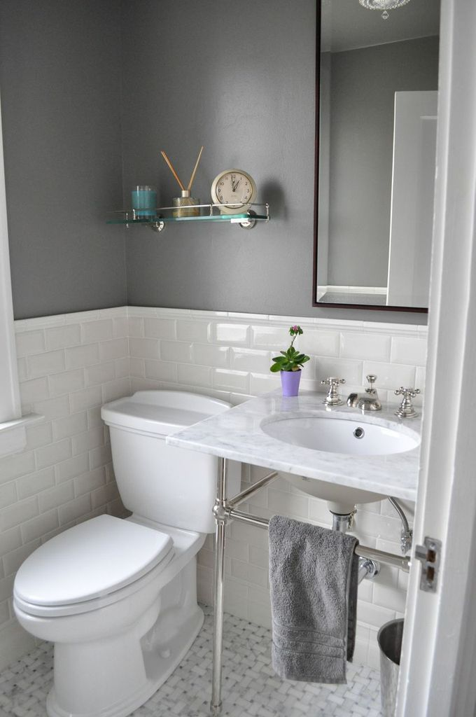 Attractive Half Tiled Bathroom Ideas Part - 11: Second Bath Inspiration - Houzz Linden Ave. Kitchen No.