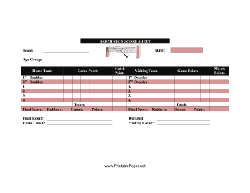 This Badminton Score Sheet Has Space To Keep Track Of Games And Points In Your Badminton Match Free To Download And Pr Badminton Score Badminton Sports Scores