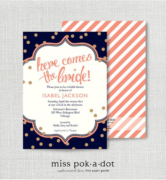navy coral and gold confetti invitation by misspokadot on Etsy, $15.00