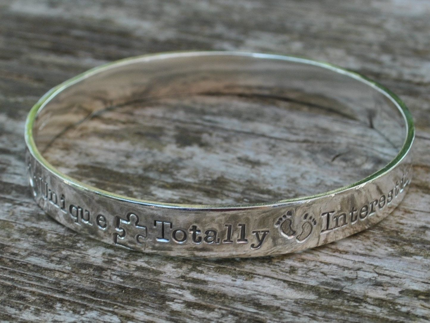 Personalised wide solid sterling silver smooth polished bangle