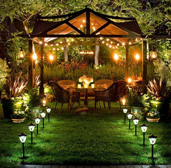 Maybe a little overdone for my tastes, but generally like the idea of white lights for the backyard. Very Summer kind of feel.