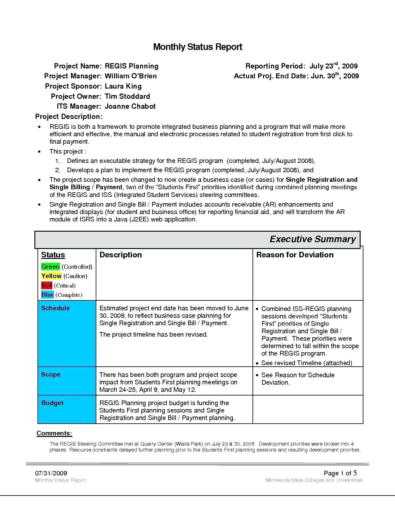 Project Management Status Report Template Reports Format Intended