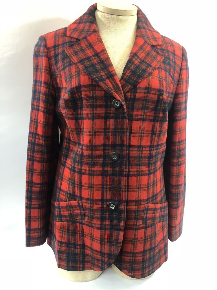 101135a09882ae Pendleton Plaid Suit Set Jacket Skirt Womens Red Tartan Size 16 Vintage  #Pendleton #SkirtSuit
