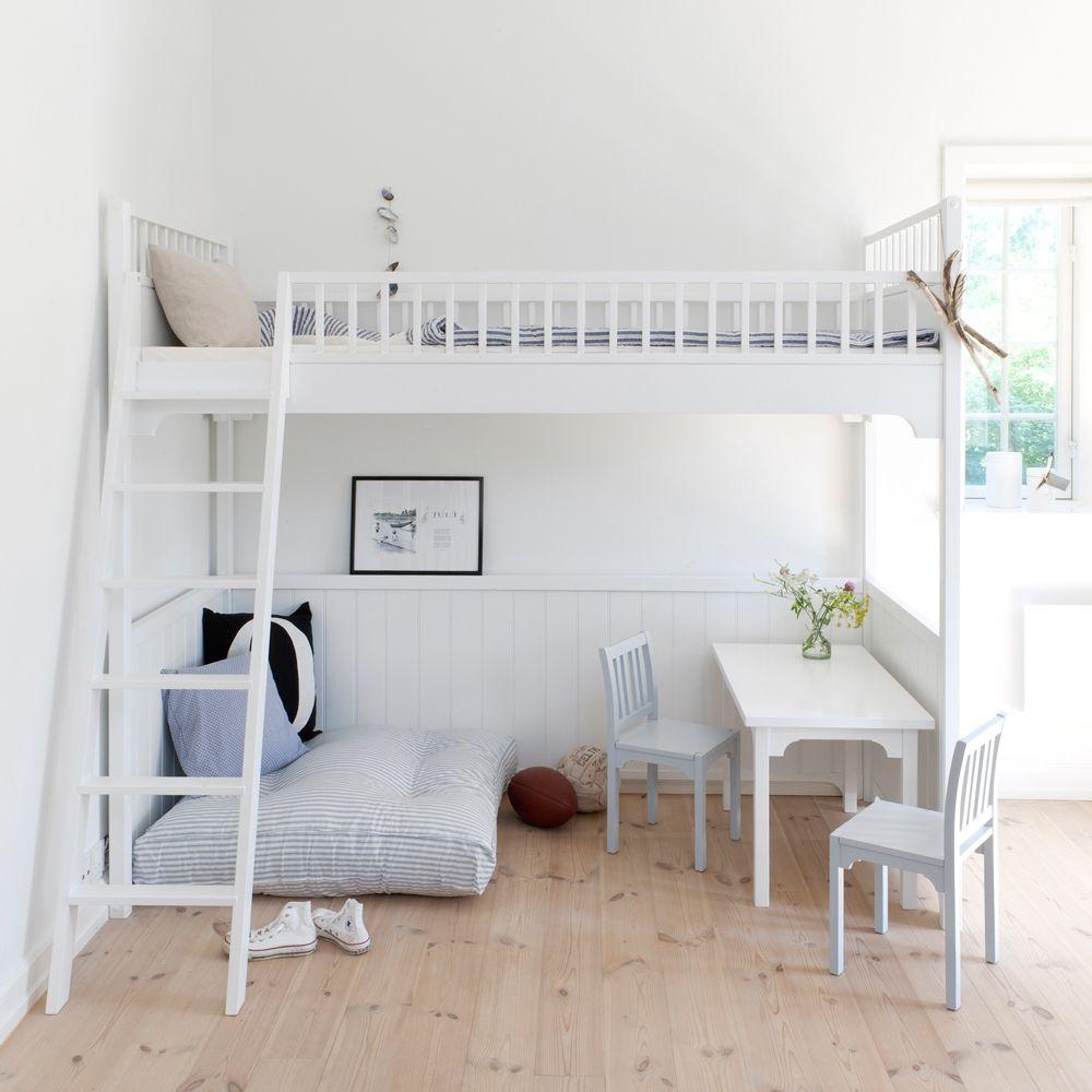 Loft bed with desk girls  Seaside Loftsäng  Kids rooms Room and Lofts