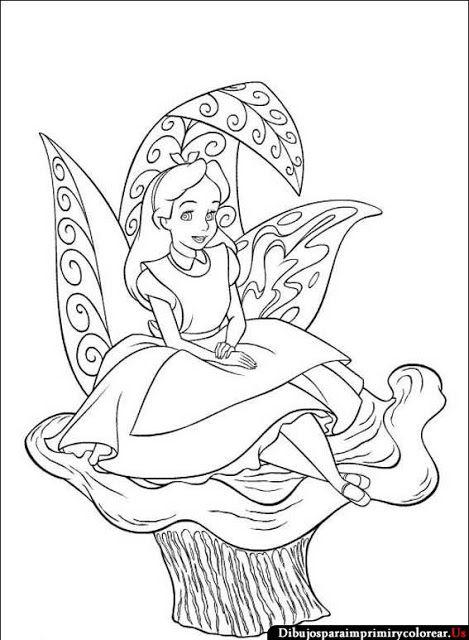 Dibujos De Alicia En El Pais Las Maravillas Para Imprimir Y Colorear