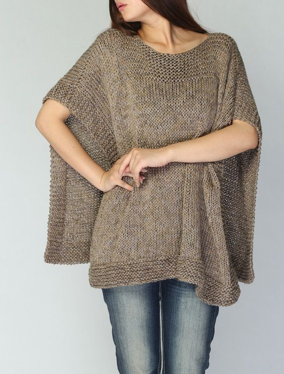 Hand knit woaman Poncho/ capelet eco cotton poncho dark wheat oatmeal
