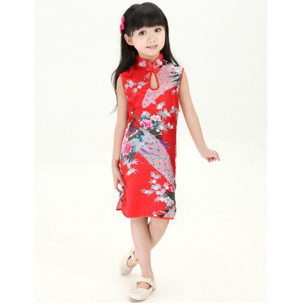 27f287f4e5 Child-Kid-Baby-Girl-Cute-Chinese-Peacock-Cheongsam-Dress-Qipao-Clothes