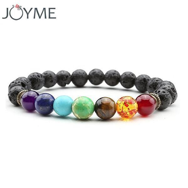 7 Chakra Bracelet Lava Yoga Prayer Stones Healing Beads Jewellery Natural Reiki