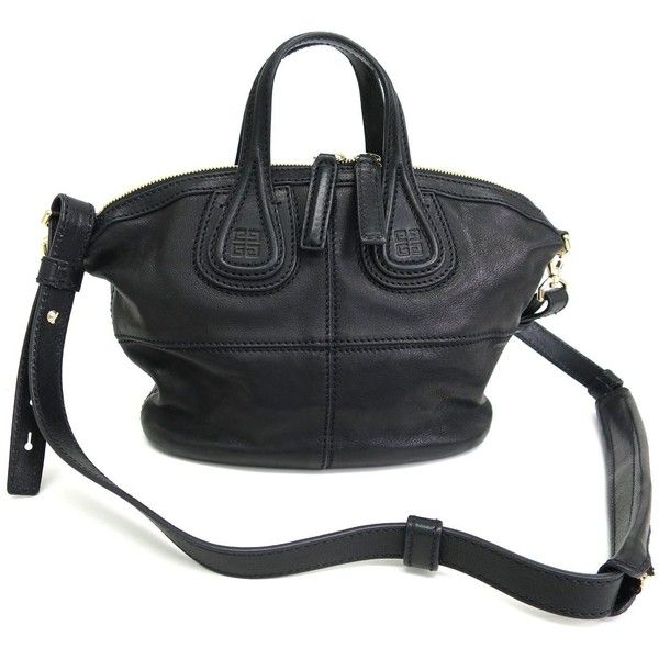 Pre-owned Givenchy Micro Nightingale Black Lambskin Tote Bag ( 860) ❤ liked  on 75601df2d7f15