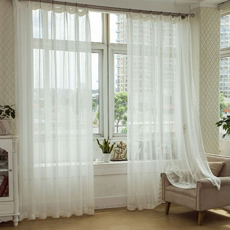 Modern Linen White Sheer Curtain With Striped Pattern White
