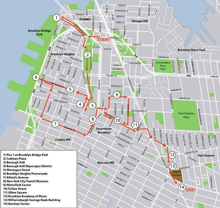 "Brooklyn Bridge stairs marked ""Washington Street Cadman Plaza"" to"