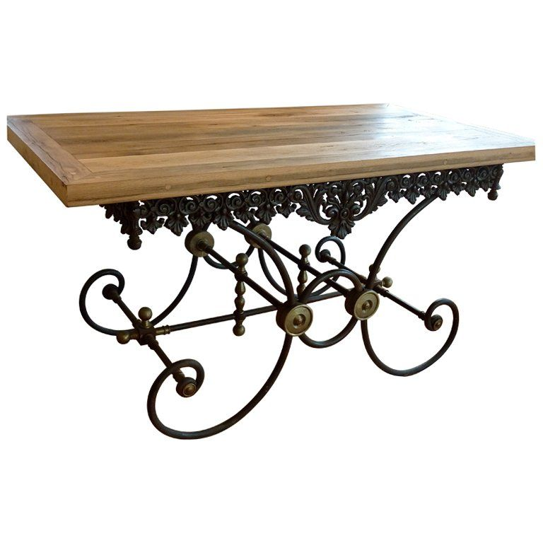 19th Century French Provincial Cast Iron Butcher s Table