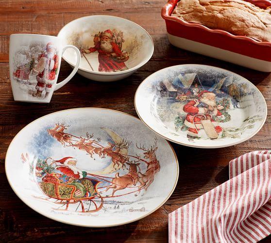 Nostalgic Santa 16 Piece Dinnerware Set Christmas Dinnerware Pottery Barn Christmas Christmas Dinnerware Sets