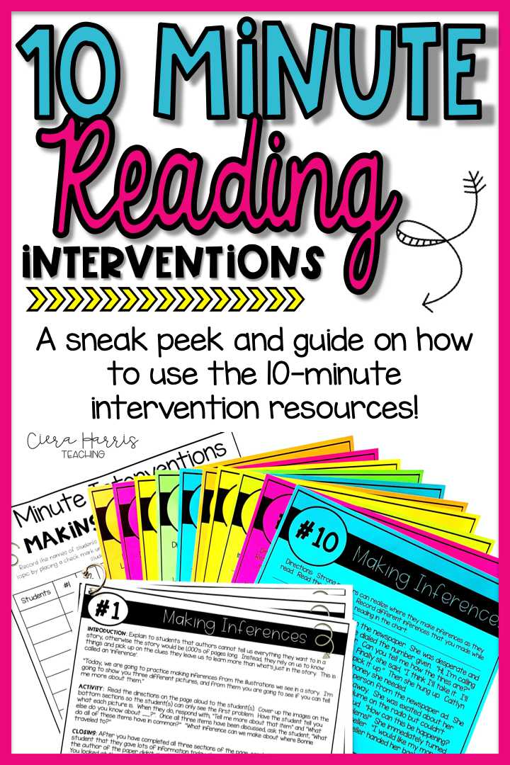 Reading Intervention Activities: A Sneak Peek at 10 Minute Interventions