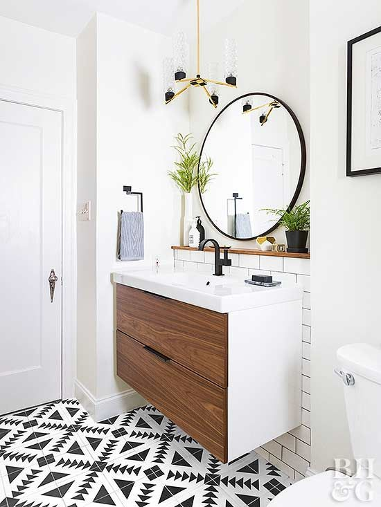 Modern Bathroom With Round Mirror And Single Sink Cabinet Note