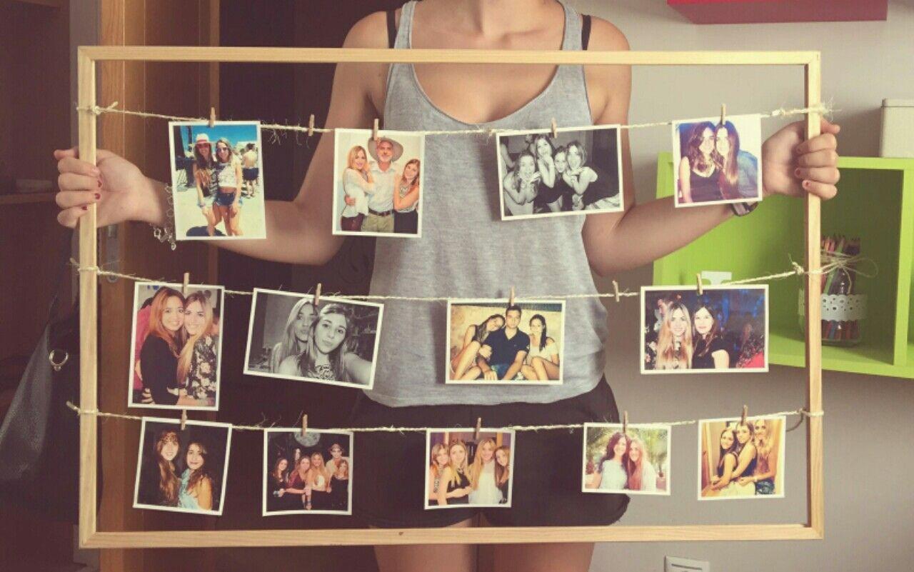 Marco de fotos con cuerdas y pinzas. | Bricolaje y manualidades ...