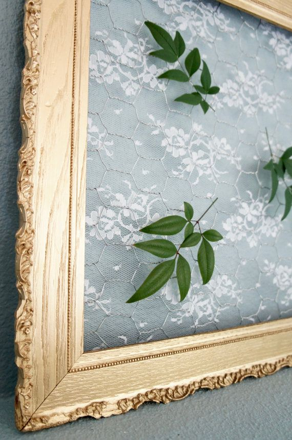Gold Vintage Frame with Chicken Wire & White Lace: wedding decor ...