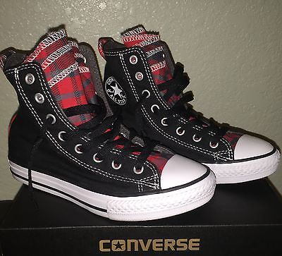 b60ef6d86568 Boys girls converse ct party hi shoes plaid tongue youth size 2 nib ...