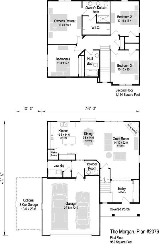 The Morgan Plan 2076 2 Story 2 076 Sq Ft 4 Bedroom 2 5 Bath Bedroom House Plans Basement House Plans House Plans