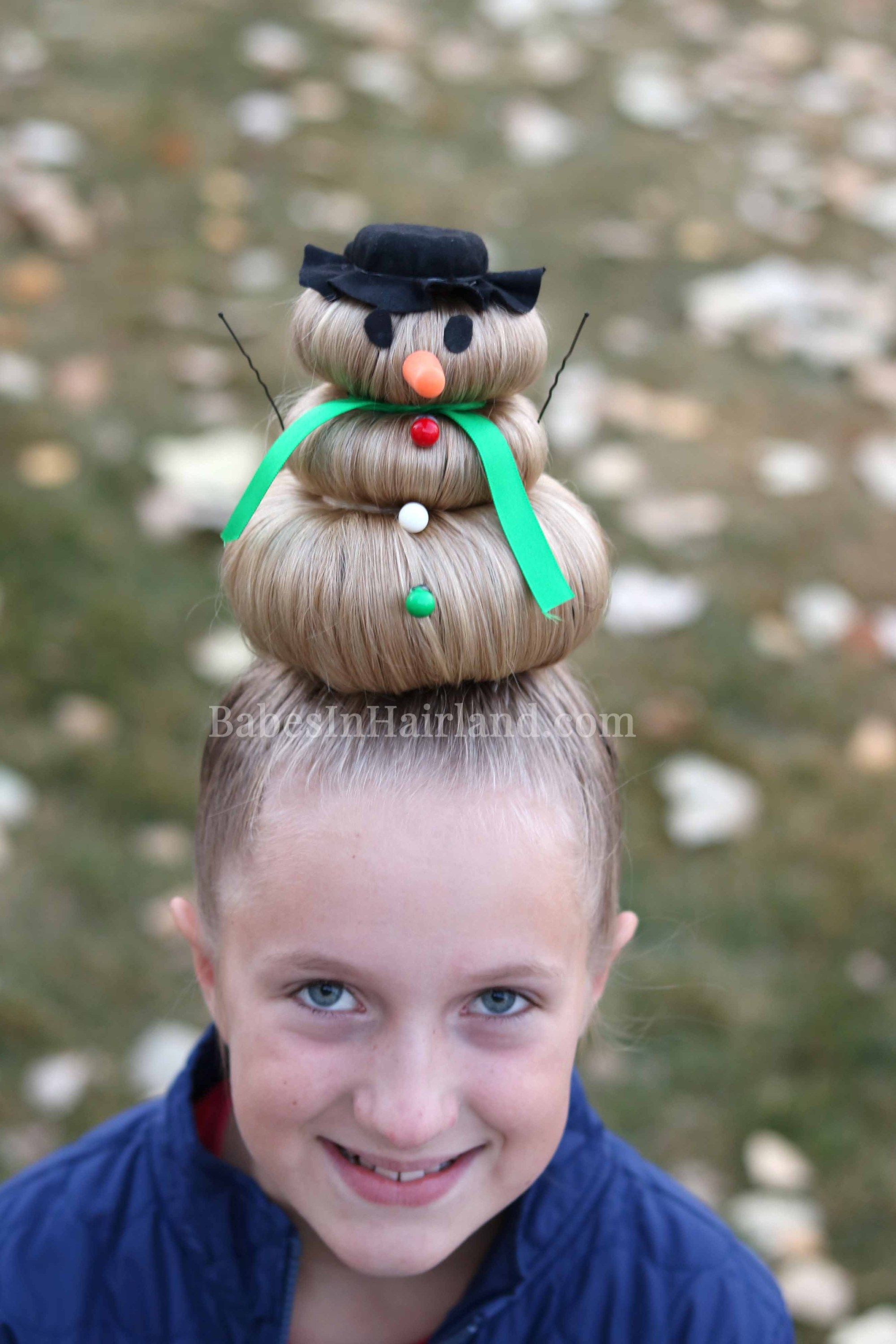 Snowman Hairstyle for Crazy Hair Day (or Christmas)  Gekke haar