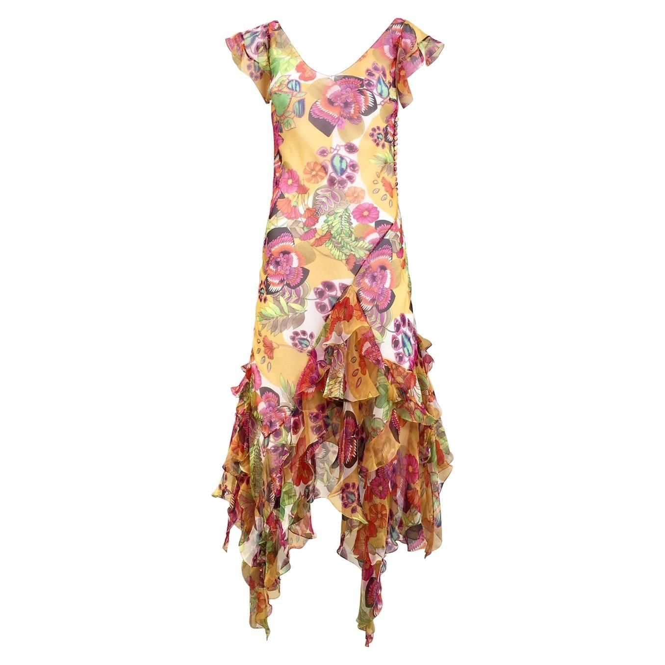 Christian Dior Vintage yellow silk floral print bias cut dress