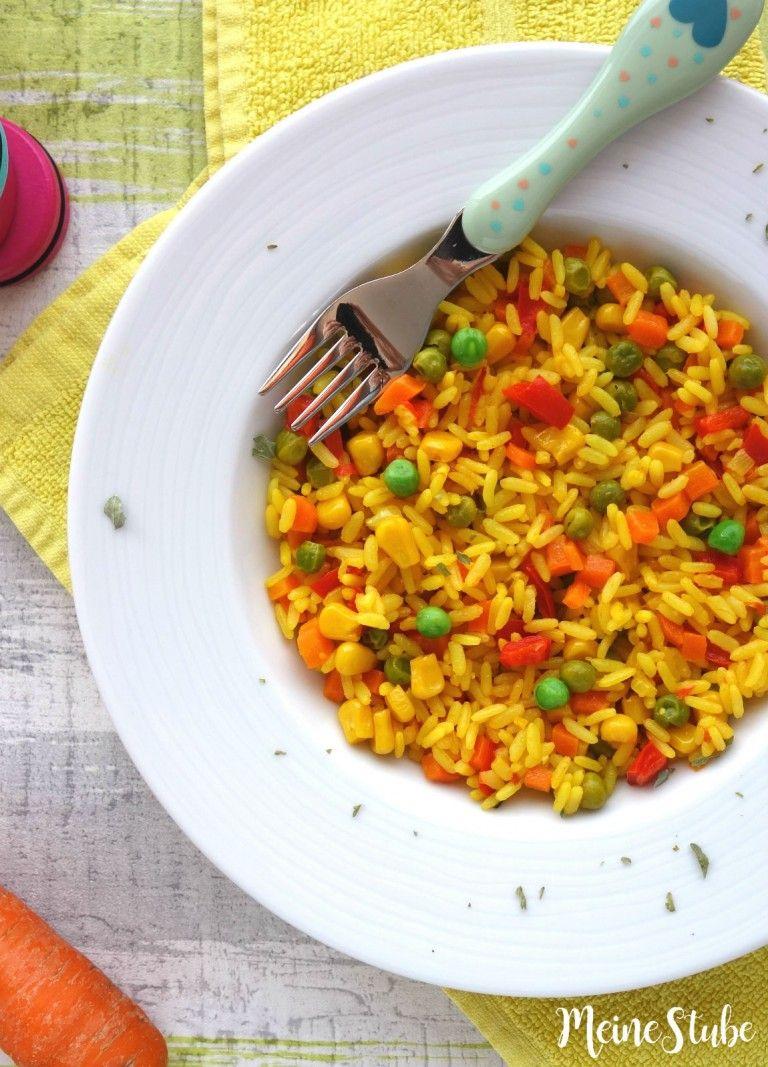 Kinder Paella mit buntem Gemüse, ein vegetarisches Reisgericht #vegetariandish