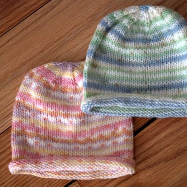 Easy Beanie Knitting Pattern Free : Easy paintpot baby hat free knitting pattern