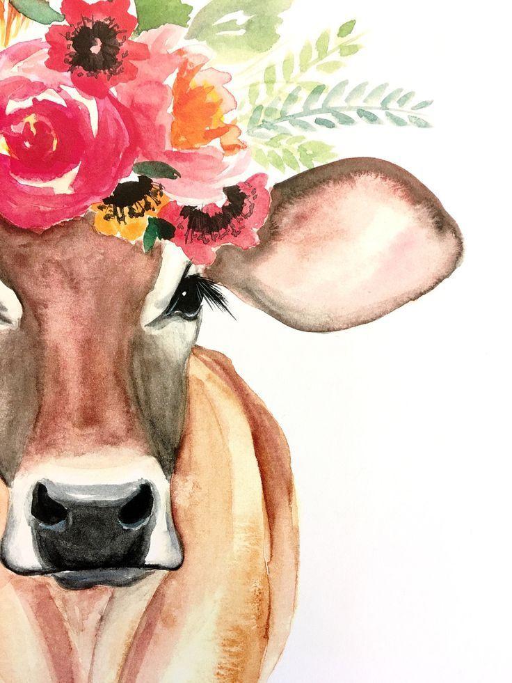 Miranda die Kuh PRINT, Blumenkuh, Blumenkronenkuh #watercolorart