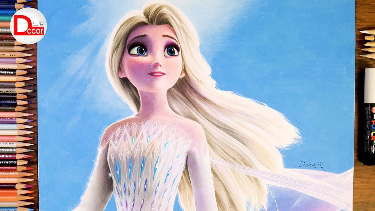 Drawing Frozen 2 Elsa Elsa With Her Hair Down Dccor Drawing In 2020 Princess Drawings Disney Art Drawings Disney Princess Drawings