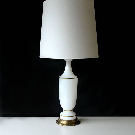 Vintage White Opalescent Glass Table Lamp Finely Crafted Mid Century Glass Table Lamp The Bright Semi Translucent White Gla Glass Lamp Glass Table Lamp Lamp