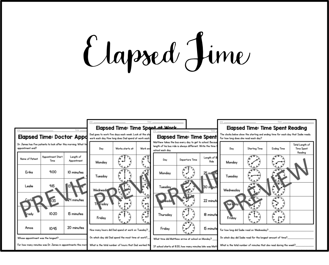 Elapsed Time Worksheets On Fun Classroom Printables