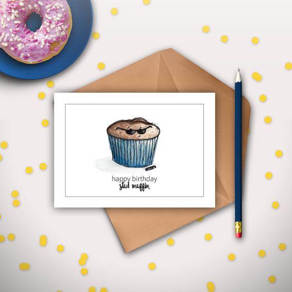 Cute Birthday Cards For Him ~ Boyfriend birthday card husband stud muffin funny cute