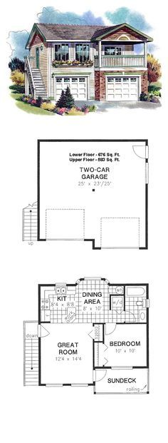 Narrow Lot Style 2 Car Garage Apartment Plan Number 58562 with 1 Bed, 1 Bath #garageplans